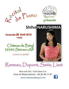 Récital Piano Château de Bézyl Shiho Narushima
