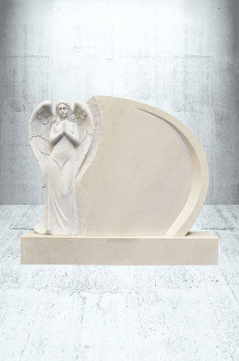 Grabstein stehender Engel mit Sockel