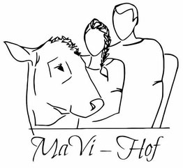 MaVi-Hof Logo, abgebildet sind Viktoria, Manfred und Kuh Flora