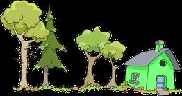 assurance habitation comparateur comparatif comparaison maison logement arbre jardin terrain risque toit cheminé porte fenêtre vert bleu