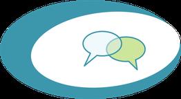 """Icon, 2 Gesprächsblasen, Symbol für """"Let's talk"""""""