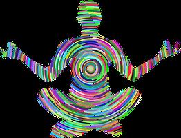 Medtierender Mensch mit positiven, stärkenden Energie aus der eigenen Mitte heraus