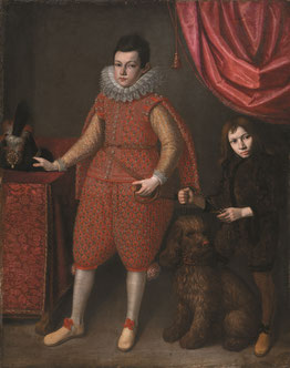 Domenico Casini (Firenze, 1588 - 1660)  Valore Casini (Firenze, 1590 - 1660) (qui attr.) Ritratto di Odoardo Farnese con un nano e un cane 1620 ca. olio su tela