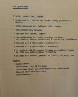 Angaben von Josef Braunold zum Besitz der Familie