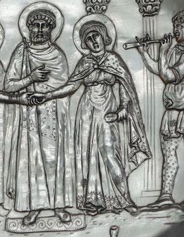 Detail: Silberteller aus dem Schatzfund von Lampousa/Zypern, 1. Drittel d. 7. Jh. Kopie, Römisch-Germanisches Nationalmuseum Mainz. Foto: Nina Möller - Mode byzantinische Spätantike