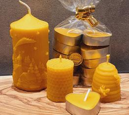 Bienenwachskerzen, handgegossen, Naturprodukt