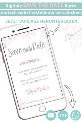 digitale Save the Date Karte, Hochzeit ankündigen, Green Wedding, nachhaltig heiraten, Nachhaltige Hochzeit, Hochzeitspapeterie selber machen, Druckvorlagen, Word  Vorlagen
