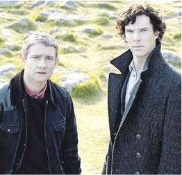Мартину Фримену (слева) и Бенедикту Камбербэтчу не привыкать работать в паре. (Кадр из сериала «Шерлок»)  Фото www.kinopoisk.ru