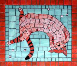 Christine Brallier Mosaics pink cat