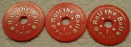 Roll the Ball 1 Point Chips aus dem Phantasialand 1972 bis ca. 1975