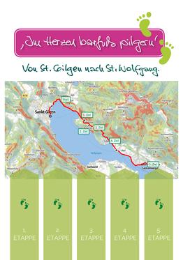 Rückseite vom Pilgerpass: nach jeder geschafften Etappe wird über den grünen Füßchen ein Sticker aufgeklebt.