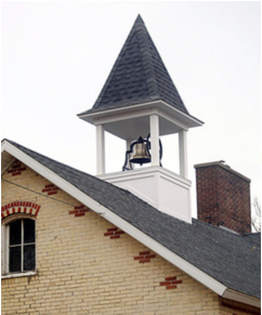 The bell used at the former New Groningen schoolhouse, at 10537 Paw Paw Drive, was returned last week as part of the Zeeland Historical Society's restoration project. Brian Forde.