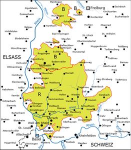 Karte des südlichen Teils der Markgrafschaft um 1556 R = Herrschaft Rötteln B = Herrschaft Badenweiler