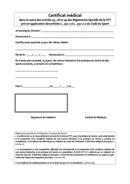 Certificat médical Tennis tous sports