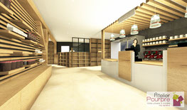 Agencement, aménagement, accueil, vente, comptoir