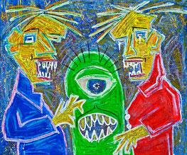 Vom anderen Stern, Divo Santino, Aliens, Weltraum, Sterne, Sternschnuppen, Sternenregen, Monster, Wurm, Weltraummenschen, Tiere, einäugig, Zähne, Wasser im Mund, blaue Jacke, rote Jacke, Acryl, Graffiti, Oil-Pastellkreide