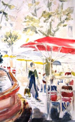 100- Café-terrasse place Puget à Aix-en-Provence, dessin aquarellé 50X70