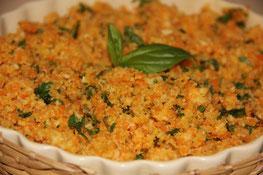 Falso arroz de coliflor y zanahoria