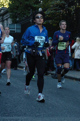 running in Dublin city during the Dublin City Marathon
