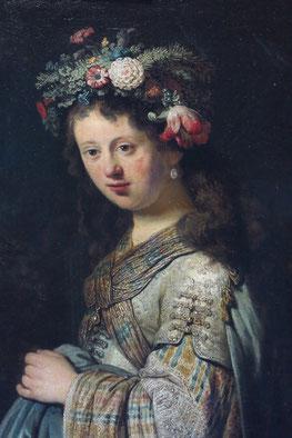 Saskia als Flora, Öl auf Leinwand, 125 cm x 101 cm, 1634 (Ausschnitt). Saskia Uylenburgh war die Ehefrau von Rembrandt van Rijn.