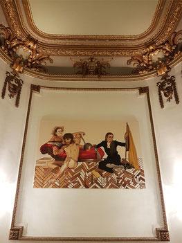 """Im Treppenhaus der Oper Antwerpen, Gemälde von Kati Heck: Bälck, 2011 für """"La Clemenza di Tito"""""""