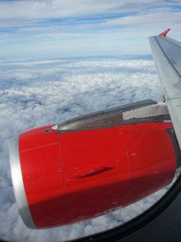 Landeanflug zum Flughafen Düsseldorf