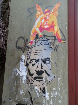 Graffiti an der Fassade des Lichtblick Kino