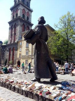 Denkmal für Ivan Fedorov (1510-83), erster Buchdrucker auf russischem und ukrainischem Gebiet
