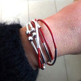 Bracelet cuir rouge YOU bijou 2 en 1 transformable et personnalisable fait main bassin d'arcachon