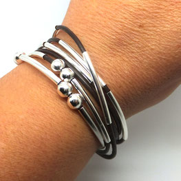 Bracelet you cuir marron bijou 2 en 1 transformable et personnalisable fait main bassin d'arcachon
