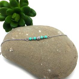 Bracelet bohèmes SOLAL perles turquoise Manoléo Fantaisies fait main bassin d'arcachon