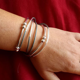 Bracelet cuir gris YOU bijou 2 en 1 transformable et personnalisable fait main bassin d'arcachon