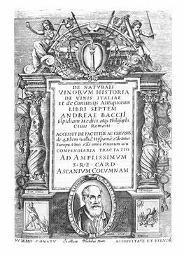 "Andrea Bacci, immagine di copertina di ""Di Naturalis Vinorum Historia"", 1596 d.c."