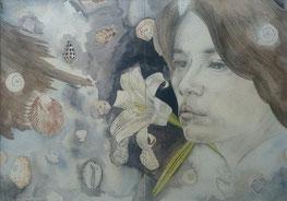 """""""Dos"""". Acuarela previa para la obra expuesta en The Exhibit en la exposición """"In connection with Nature""""."""