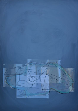 untitled, 2013, 100x70 cm, acrylic, charcoal, foil on wood
