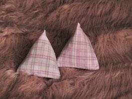Katzenspielzeug Pyramiden hellrosa dunkelrosa kariert