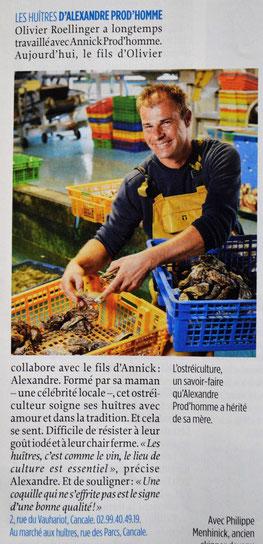 Les huîtres Alexandre Prod'homme. Article Le Point 2017