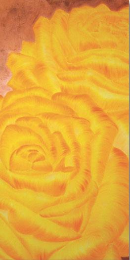 Rosengemälde THE COLOUR OF YOUR SMILE, Öl und Kompositionsblattgold auf Leinwand 60 x 120 cm Pia Phoenix