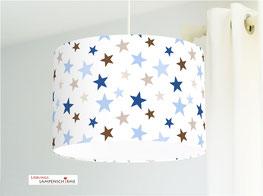 Deckenlampe fürs Kinderzimmer mit Sternen in Blau und Braun aus Baumwolle