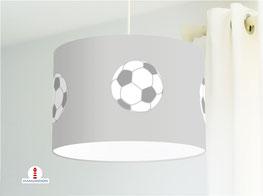 Lampe Fußball Kinderzimmer in Grau aus Bio-Baumwollstoff - alle Farben möglich