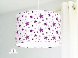Lampe für Mädchen mit Sternen in Lila aus Baumwolle