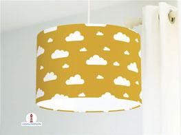Lampe Kinderzimmer Wolken in Senf-Gelb aus Bio-Baumwollstoff - alle Farben möglich