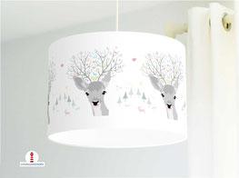 Deckenlampe mit Rehen fürs Kinderzimmer und als Stehlampe aus Baumwolle
