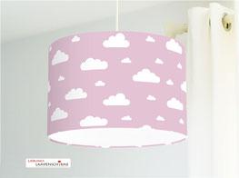 Lampe fürs Kinderzimmer und Babys mit Wolken in Altrosa aus Baumwolle