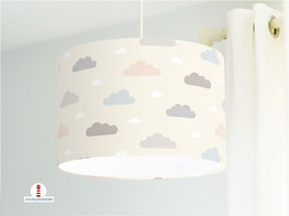 Lampe Kinderzimmer Wolken Pastell aus Baumwollstoff - alle Farben möglich