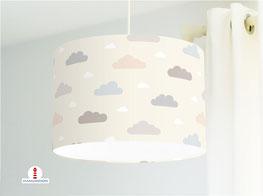 Lampe Kinderzimmer Wolken Pastell aus Bio-Baumwollstoff - alle Farben möglich