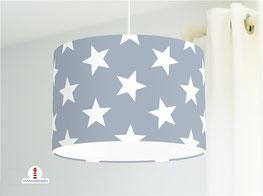 Lampe mit Sternen fürs Kinderzimmer in Grau aus Baumwolle