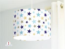 Lampe für Babys und Kinderzimmer mit Sternen in Blau und Beige aus Baumwolle