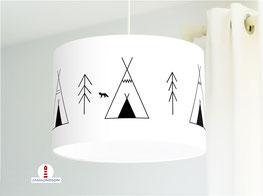 Lampe für Jungs und Kinderzimmer mit Zelte aus Baumwollstoff