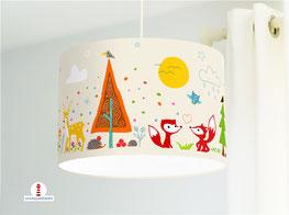 Lampe fürs Kinderzimmer und Babys mit Waldtieren in Beige aus Bio-Baumwolle